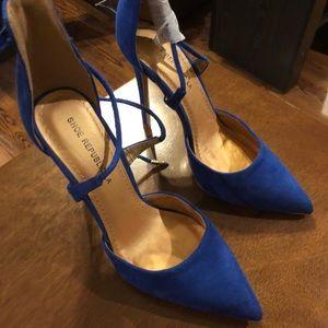 Blue suede tie up heels